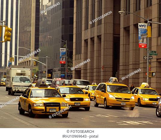Yellow taxis in traffic, New York City