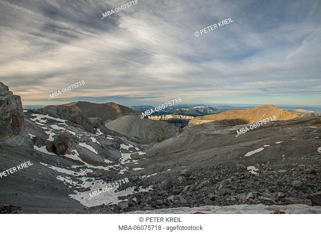 Pireneos, Spain, Breche de Roland, snow, mountain, landscape, rocky