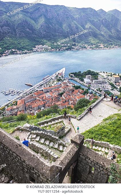Ancient Old Town around Saint John Fortress in Kotor coastal city, located in Bay of Kotor of Adriatic Sea, Montenegro
