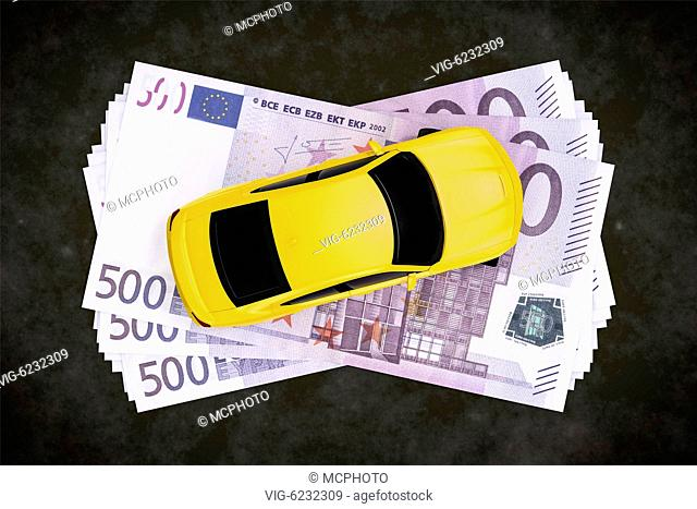A cash for car symbol image with 500 Euro banknotes - 01/01/2018