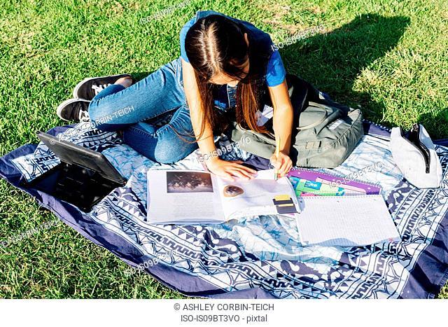 Girl doing homework on grass