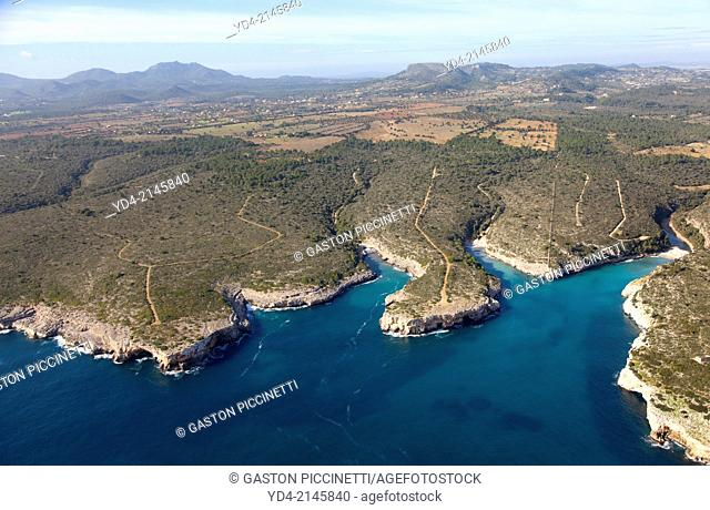 Aerial View of Cala Magraner and Cala Virgili, Mallorca, Balearic Island, Spain