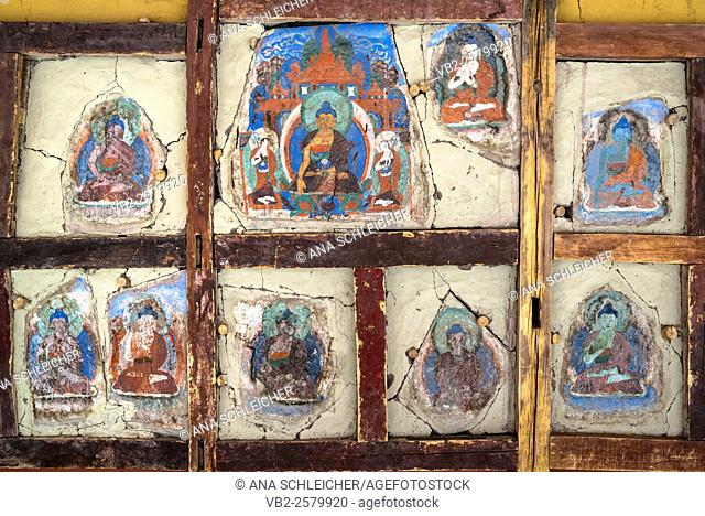 Ancient Buddha fresco painting. Hemis gompa. Indus valley, Ladakh (india)