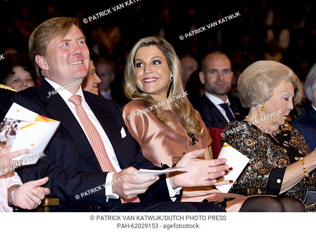 King Willem-Alexander (L-R), Queen Maxima and Princess Beatrix of The Netherlands attend the closure event of the celebration of 200 years kingdom of the...