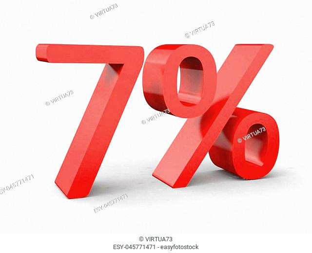 Red 3d numbers percentage discount on isolated white background 3d Illustration