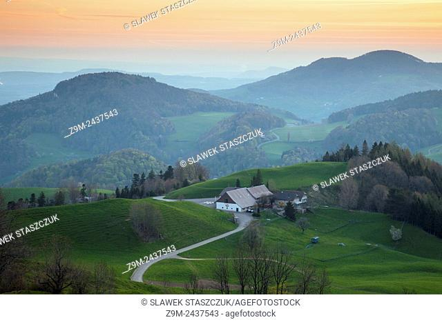 Spring morning in Swiss Jura mountains near Eptingen, canton Basel-Country