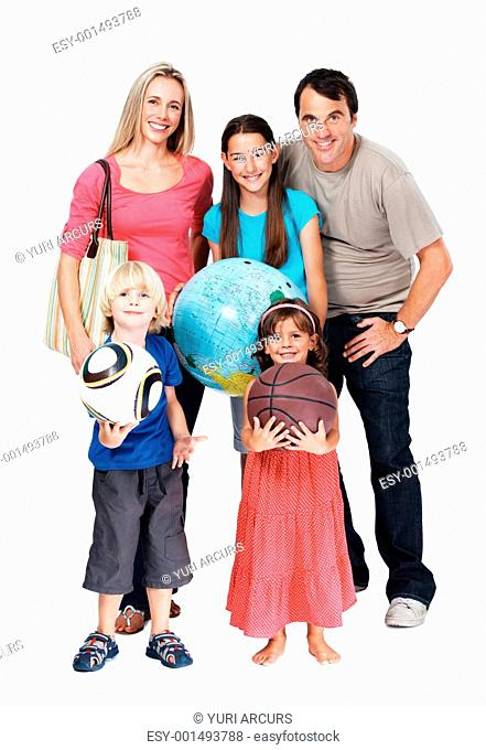 Portrait of happy family on vacation over white background