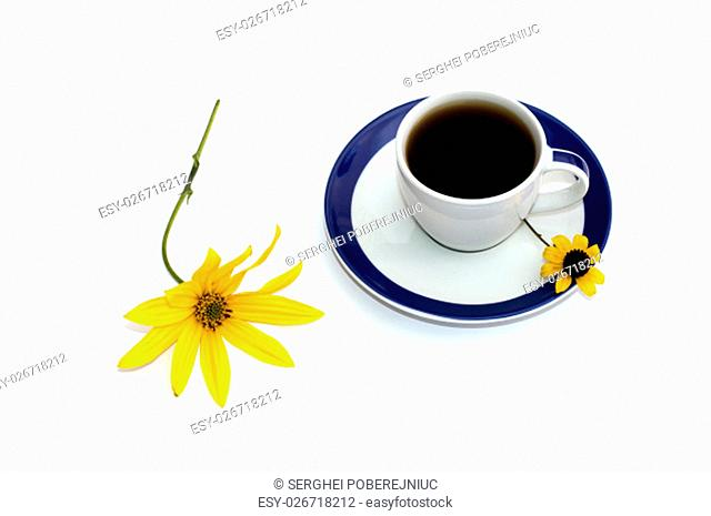 the cup of coffee decorated with two yellow flowers a still life, isolate, a subject drinks and flowers