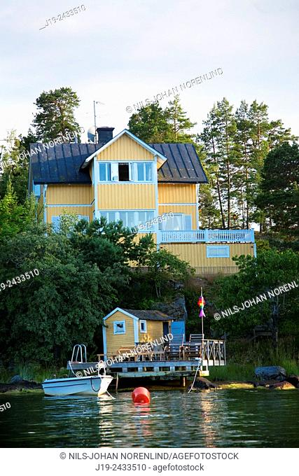 Summer archipelago Stockholm, Sweden, house by the sea
