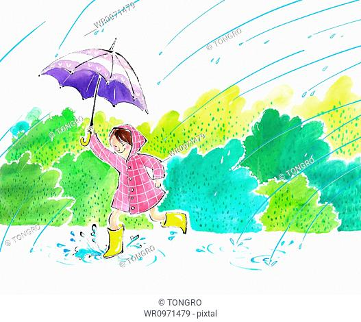 illustration of a girl in raincoat running with an umbrella