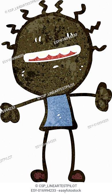 retro cartoon grinning man