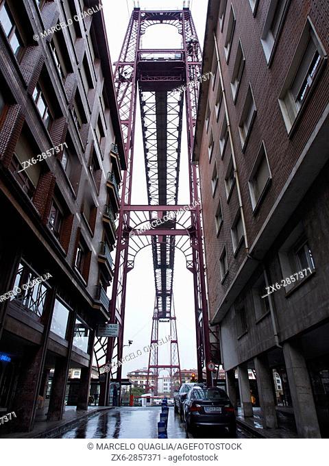 Puente Colgante de Vizcaya (Vizcaya Hanging Bridge), declared World Heritage Site by UNESCO, on a rainy day. Inaugurated in 1893
