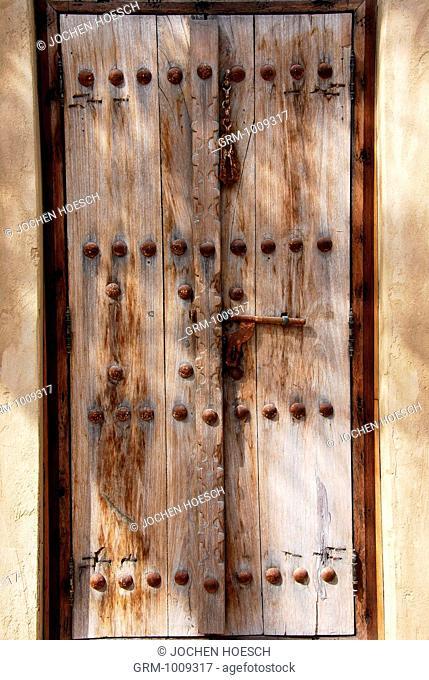 Old wooden door in Bab al Shams, Dubai, UAE