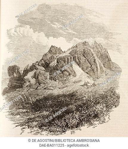 Pocket Gate Rocks, Charnwood Forest, United Kingdom, illustration from the magazine The Illustrated London News, volume XLIX, September 1, 1866