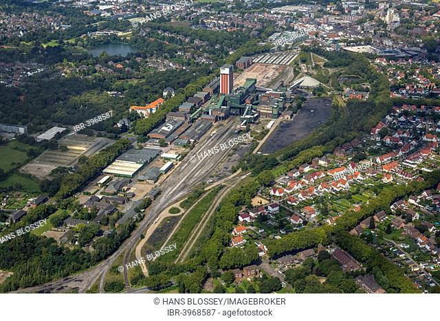 Aerial view, Zeche Friedrich Heinrich 1-2 colliery, Kamp-Lintfort, North Rhine-Westphalia, Germany