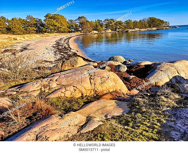 Trouville Beach, Sandhamn, Stockholm archipelago, Sweden, Scandinavia. Island in the outer archipelago popular for its rugged cliffs and beaches