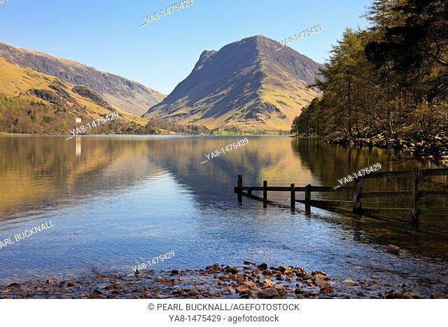 Buttermere, Cumbria, England, UK, Europe  Scenic view to Fleetwith Pike reflected in Buttermere Lake in the Lake District National Park