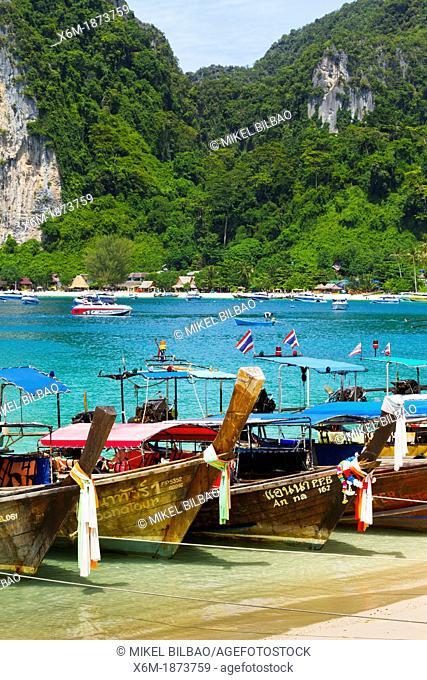 Longtail boat on Ton Sai village  Phi Phi Don island  Krabi province, Andaman Sea, Thailand