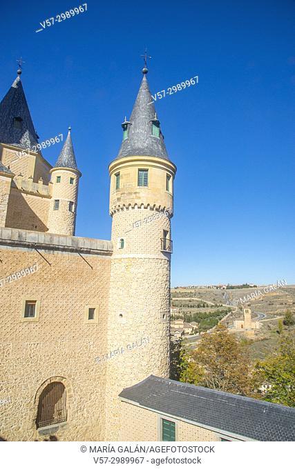 The Alcazar and Vera Cruz church. Segovia, Spain