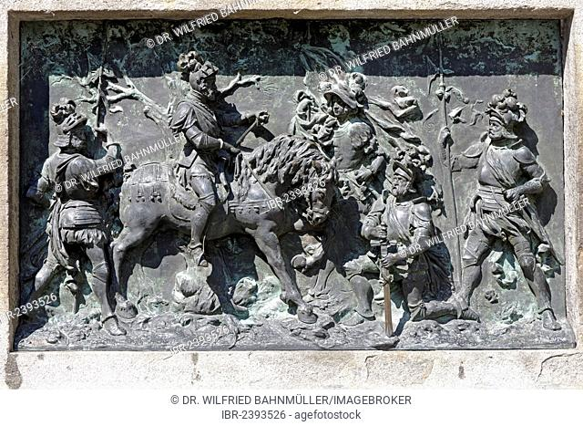 Winzerer memorial, Kaspar III. Winzerer, 1465-1542, caretaker, capture of the French king Francis I near Pavia, 1525, Marktstrasse, Bad Toelz, Upper Bavaria