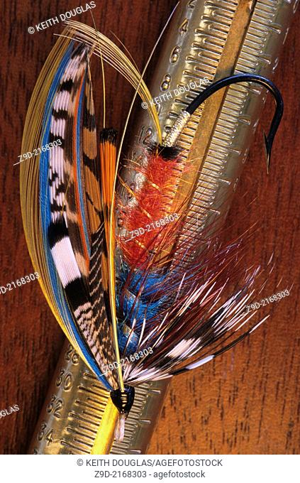 Flyfishing still life with atlantic salmon fly 'The Captain' and brass scale