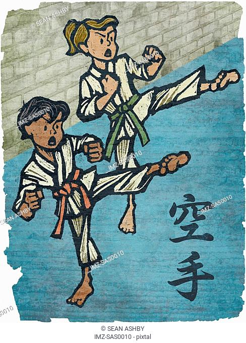 A boy and a girl in a karate class