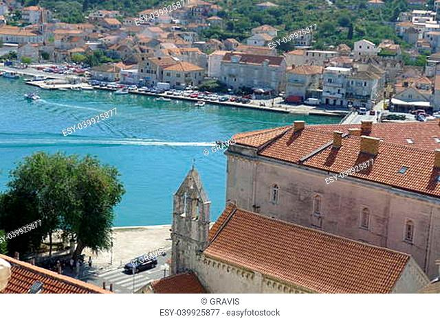 View of Trogir from the bell tower of the Cathedral of St. Lovro, Croatia, Europe