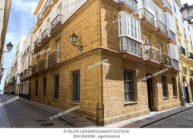 Cadiz Spain- March 31: Narrow street with traditional architecture in Cadiz, Andalusia, southern Spain