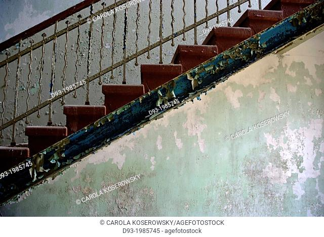 Staircase in an anbandoned ancient Hospital near Berlin Germany