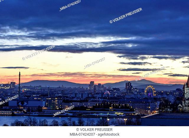Vienna, Prater, Ferris Wheel, carousel Starflyer 'Praterturm', mountain Schneeberg, Danube, overview, Wien, Austria