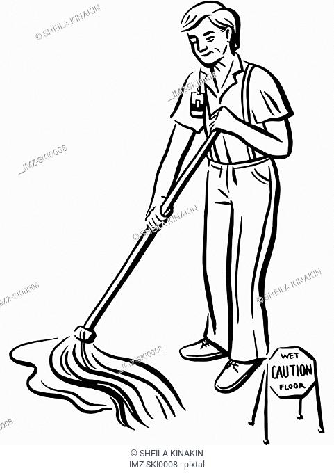 A handyman cleaning up the floor
