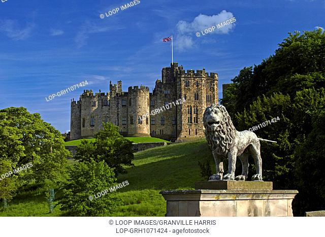The view of Alnwick Castle from Lion Bridge