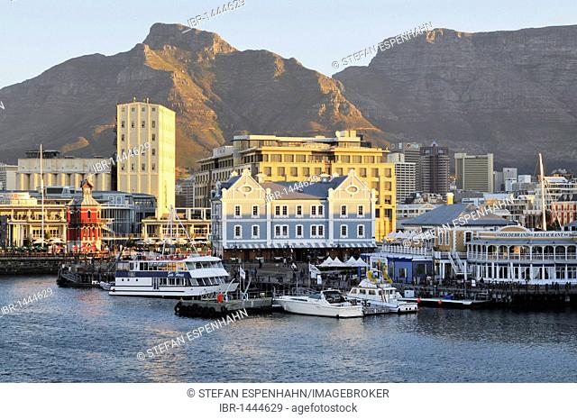 View of Quay 4, V & A Waterfront and Table Mountain, Cape Town, South Africa, Africa