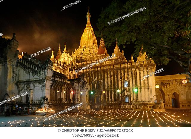 Myanmar, Bagan, Ananda temple, Thadingyut festival of lights