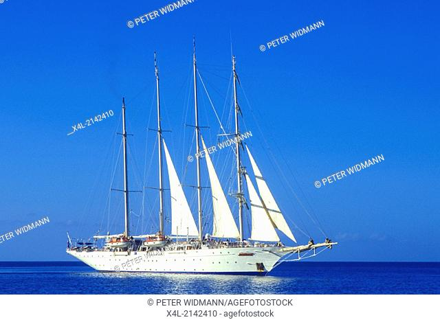 sailing ship at open sea, Dominica