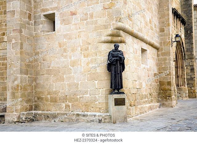 Bronze sculpture of San Pedro (Saint Michael) de Alcantara, the Church of St Mary (Procathedral of Santa Maria la Mayor). Caceres, Spain, 2007