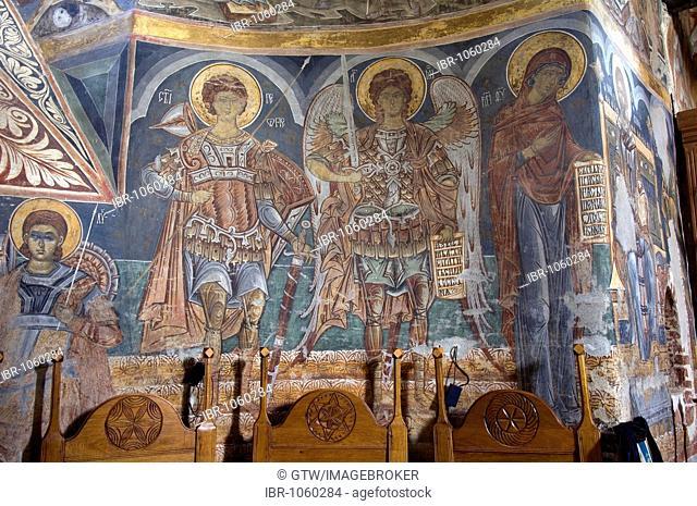Naos of the Church of St Nicholas of the Probota Monastery, UNESCO World Heritage Site, South Bucovina, Moldavia, Romania, Europe
