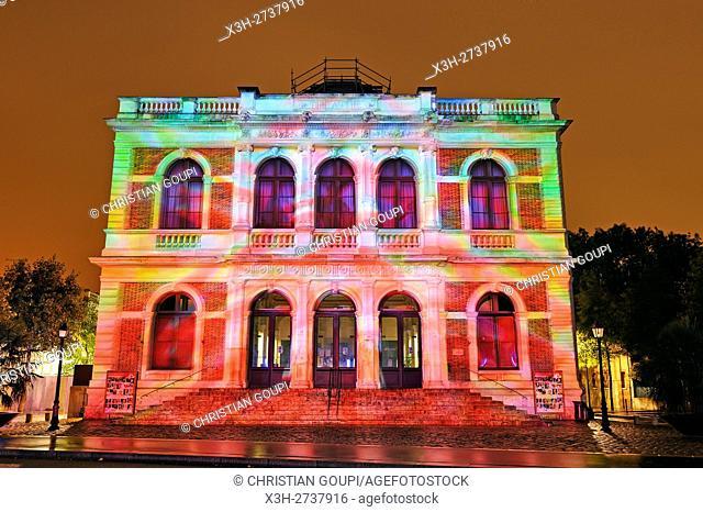 illumination of the theatre (projection mapping), Festival of Lights, Chartres, Eure-et-Loir department, Centre -Val de Loire region, France, Europe