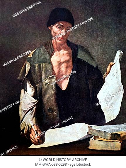 Painting titled 'Archimedes' by Jusepe de Ribera (1591-1652) a Spanish Tenebrist painter and printmaker. Dated 17th Century