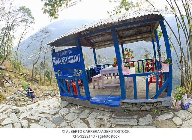 Mountain Footpath Restaurant, Trek to Annapurna Base Camp, Annapurna Conservation Area, Himalaya, Nepal, Asia