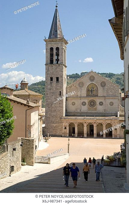 Spoleto Cathedral in the Piazza del Duome is dedicated to Santa Maria Assunta  The facade is one of the most superb examples of Umbrian Romanesque  The...