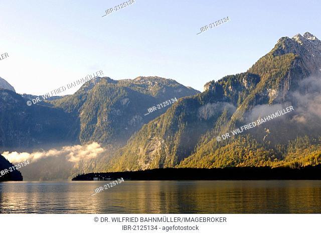 Mt. Hachelkopf, St. Bartholomae, Lake Koenigsee, Berchtesgadener Land country, Upper Bavaria, Germany, Europe