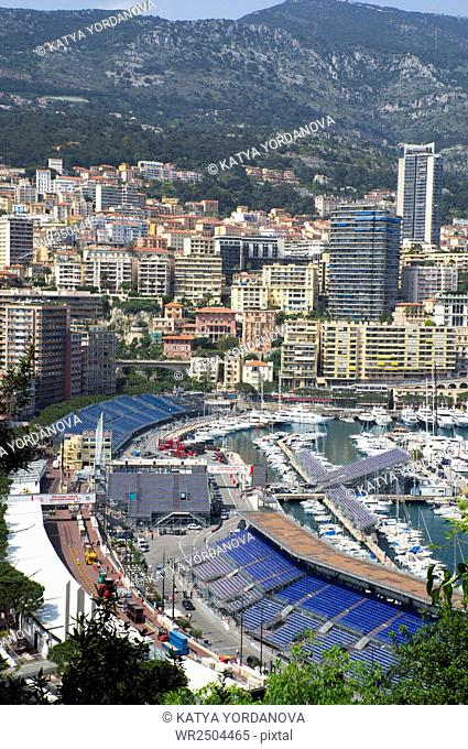 View of luxury yachts and apartments in harbor of Monaco, Cote d'Azur