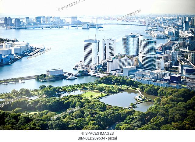 Aerial view of cityscape and river, Tokyo, Japan