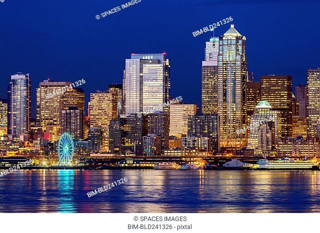 Number 12 illuminated in highrise, Seattle, Washington, United States