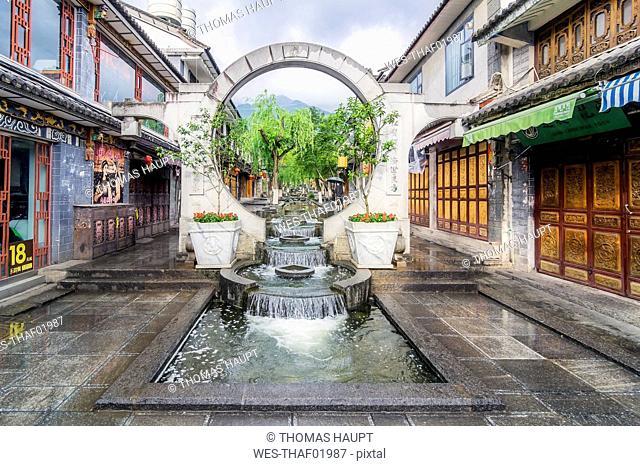 China, Yunnan, Dali, Fountain