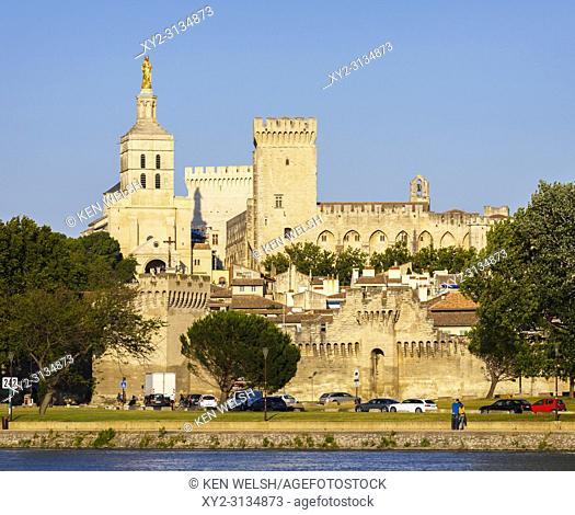 Avignon, Provence-Alpes-Côte d'Azur, France. Palais des Papes. Palace of the Popes seen across the Rhône river. The historic centre of Avignon is a UNESCO World...