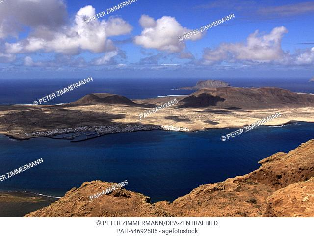 The Graciosa Island from the viewpoint Mirador del Rio on the Canary Island Lanzarote, Spain, 07 October 2015. La Graciosa is the smallest inhabited island of...