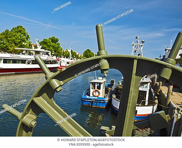 Boats on the Warnow River at Warnemünde, Germany
