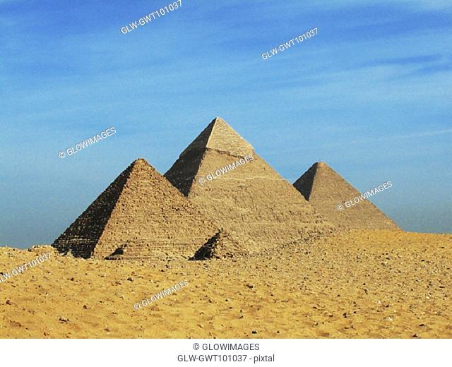Blue sky over pyramids, Giza Pyramids, Giza, Cairo, Egypt